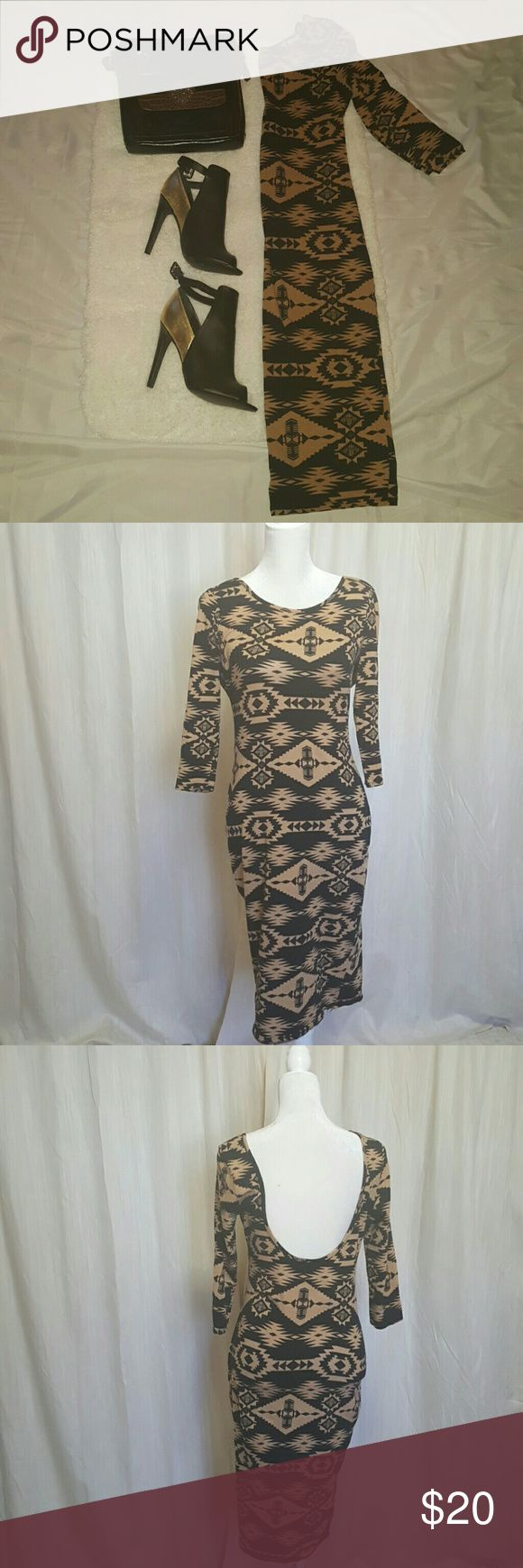 Aztec print dress Tan and black  Aztec print midi dress. Long sleeves. Low back line. Body Central Dresses Midi