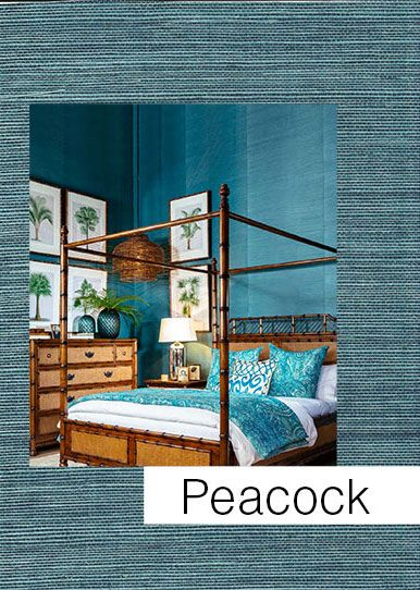 Exquisite peacock blue natural grass weave wallpaper :: Serenity Interiors