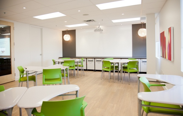 Our main space is technology enable, has flexible seating and work surfaces, seats up to 62 guests AND you can write on the walls.  IdeaPaint is a great thing to have in a space where inspiration surrounds you. #Steelcase