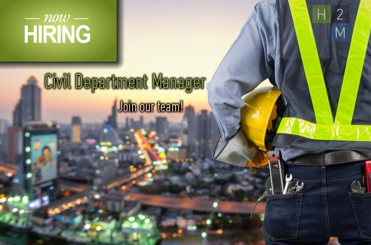 We're Hiring! Civil Department Manager! Location: Parsippany NJ, 10-15 Years of Experience needed! Job Description: Oversee and manage the NJ Civil Engineering Team. Work with firm management to establish and execute financial performance goals. Create a departmental structure that enables the civil engineering group to operate effectively in various markets! For more visit: http://www.h2m.com/About/Careers