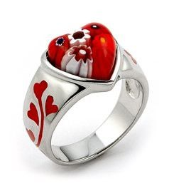 Sterling Silver.925 Hand Made Millefiore Red Heart Ring By Alan K. Designs