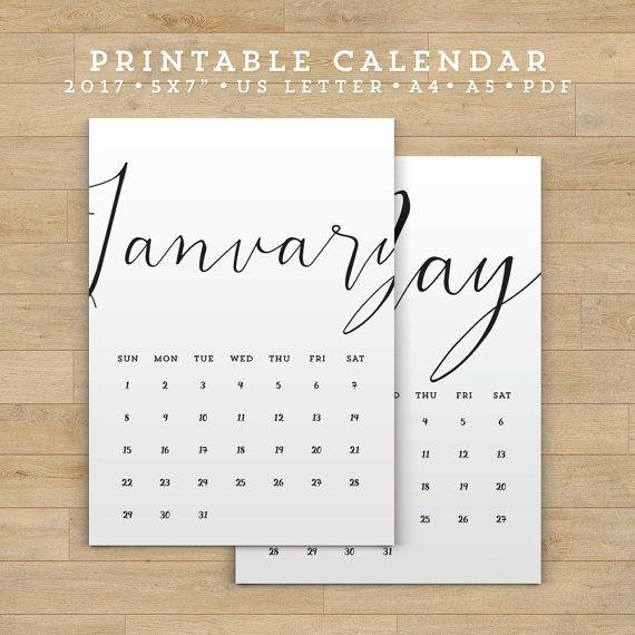2017 Printable Calendar PDF 5x7 A4 Us Letter by FearlessConfetti