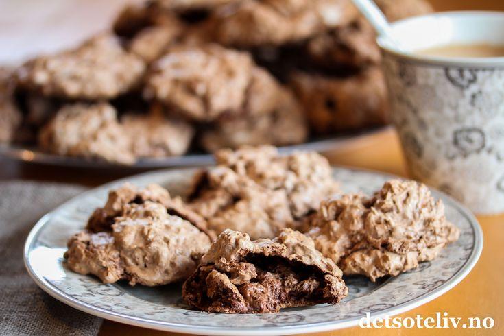 Sjokolademoussecookies med valnøtter