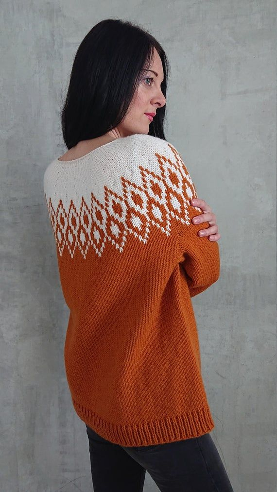 Lopapeysa Icelandic Sweater For Women Scandinavian Fair Isle Etsy In 2020 Hand Knitted Jumpers Icelandic Sweaters Hand Knitted Sweaters