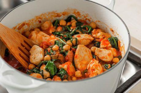 Kyllinggryte med kikerter, tomat og spinat - Sunn - Oppskrifter - MatPrat