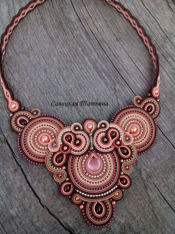 Elegant Terracotta Soutache Necklace - Hand Embroidered Soutache Jewelry…
