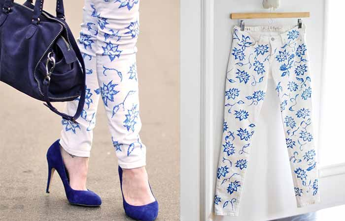 Kendiniz Yapabileceğiniz Çiçek Desenli Kot Pantolon