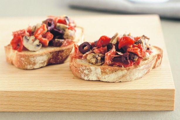 For a sensational twist on bruschetta, add simple delicacies - like chargrilled vegetables and salty salami.