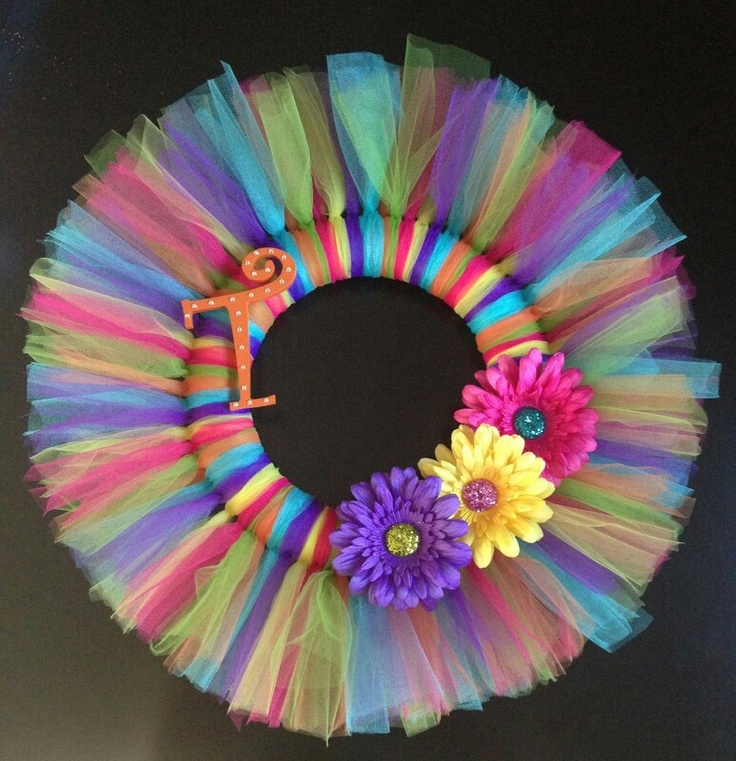 Tulle wreath that I made for my daughters room.