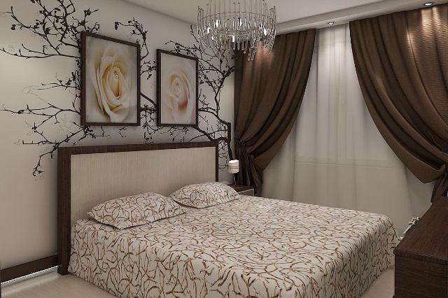 Спальня в коричневых тонах. Простые коричневые шторы. Удобное и практичное покрывало. Декор стены играет с рисунком на покрывале, а ритм задают прямоугольники: постеры на стене, изголовье кровати, стена с окном. Просто, практично и очень стильно!