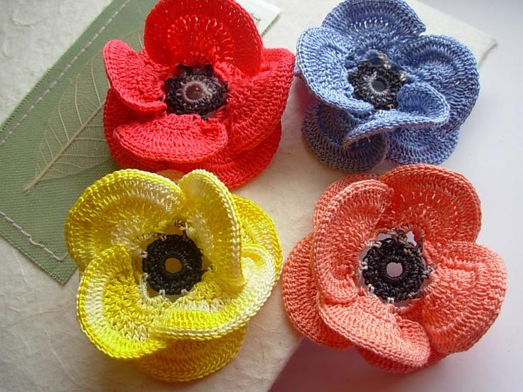 crochet poppy 3D flower appliques bright set of by FlowersbyIrene