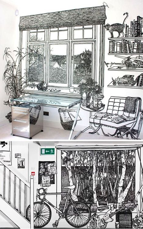 """Charlotte Mann is a British artist known for her wall drawings and drawn room installations. These densely detailed 1:1 scale drawings of rooms in rooms are invariably made with thick black marker pen on a white ground."""