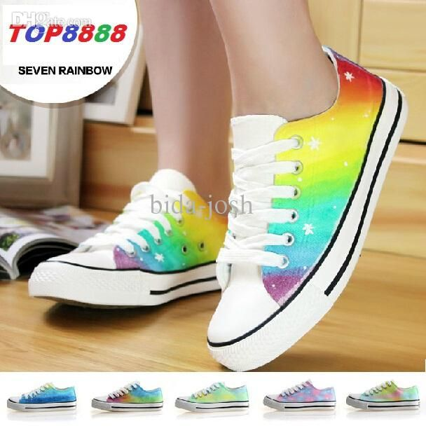 Wholesale Fashion Running Shoes Casual Fashion Sneakers Women Sneakers Men Canvas Shoes Colorful Rainbow Shoes C206 Cool Shoes Naot Shoes From Bida Josh, $34.21| Dhgate.Com