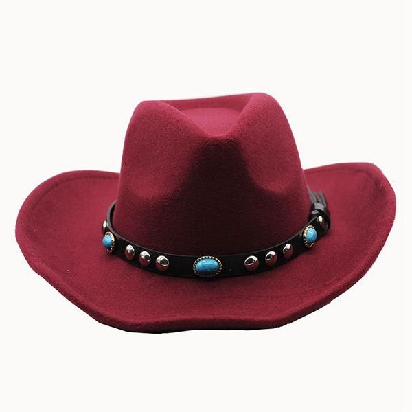 Vintage Wide Brim Leather cowboy Hat w/Studded Jewel Band