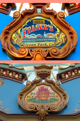 """King Triton's Carousel - Displayed around the Carousel are the logos of different Boardwalks and Piers around California's Coastline:  Fraser's """"Million Dollar"""" Pier"""
