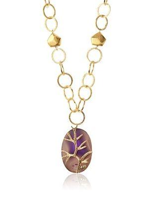 65% OFF Saachi Filligree Agate Pendant Necklace