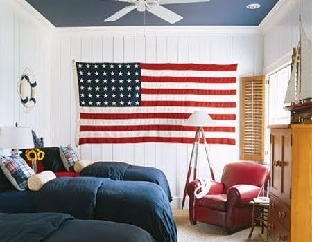 red, white and blue bathroom | Red, White and Blue -American Flag Decor Meets Nautical Style