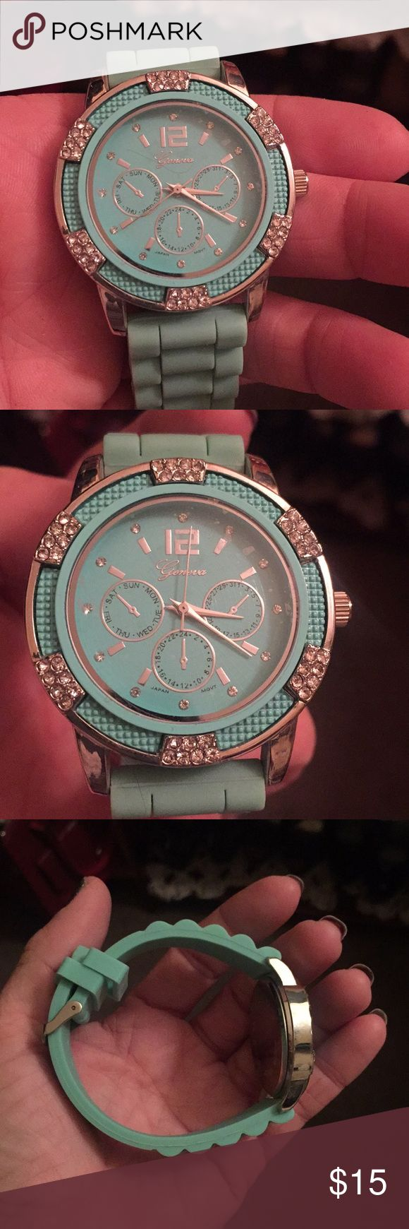 Geneva women's watch Adorable and easy teal Geneva watch with gem detail brand new battery glass protector still on watch face brand new never worn Geneva Accessories Watches