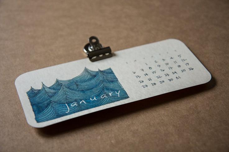 2013 magnetic calendar from Red Umbrella Designs. $22.00, via Etsy.