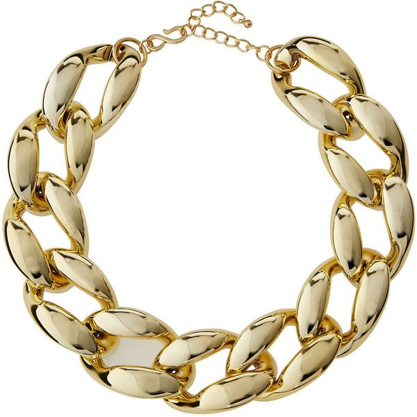 Kenneth Jay Lane Golden Chunky Curb-Link Statement Necklace ($42) ❤ liked on Polyvore featuring jewelry, necklaces, polished g, curb link necklace, curb chain necklace, golden necklace, polish jewelry and chunky curb chain necklace