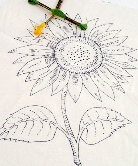 sunflower pattern, diy embroidery kit, embroidered napkin, printed fabric, needlework design - FREE SHIPPING