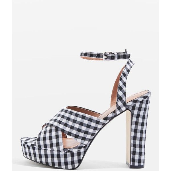 TopShop Madrid Gingham Cross Strap Platform Heels (210 RON) ❤ liked on Polyvore featuring shoes, pumps, monochrome, high heel platform shoes, gingham pumps, high heeled footwear, high heel shoes and gingham shoes