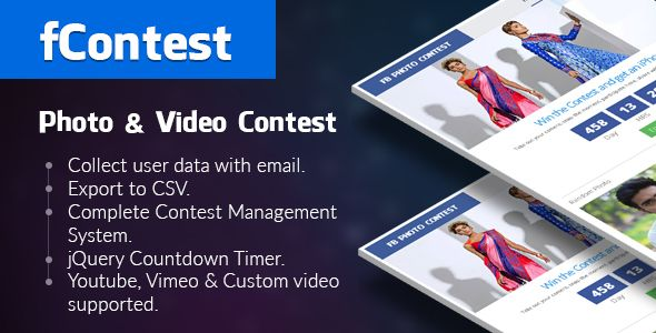 Download Free              fContest - Facebook Photo and Video Contest App            #               canvas app #contest app #facebook #facebook api #facebook app #facebook contest #fan page #fan page apps #fb contest #mobile apps #photo contest #share #video contest #viral