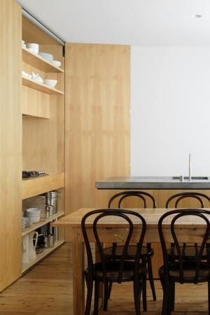 Jason Gibney created: Thonet Chairs, Ideas, Spaces, Big Doors, Quotes, Tupperware Drawers, Apartment, Timber Chairs, Hidden Kitchens