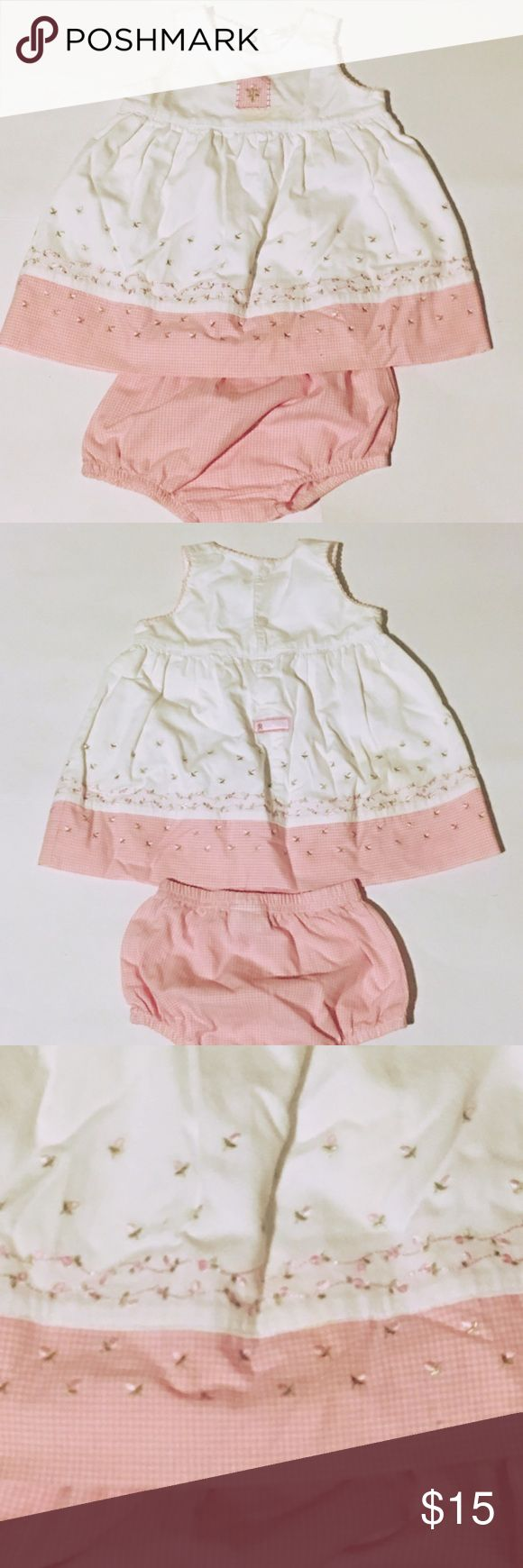 Carter Baby Set Good used condition. Includes matching bloomers Carter's Dresses