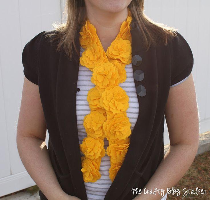 DIY Yellow Felt Flower Scarf Tutorial www.thecraftyblogstalker.com