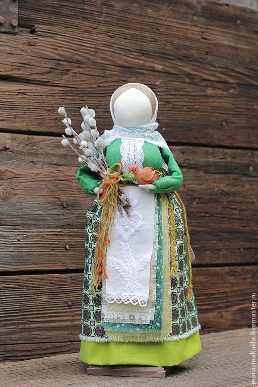 """Резерв.Кукла """"Вербница"""" - зелёный,народная кукла,Пасха,русская традиция"""