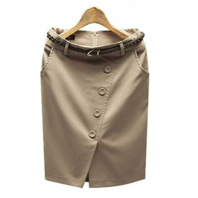 S ~ 3XL Plus Size Buttons Slit Hem High Waist Formal Womens Skirts 2016 Ladies Office Wear Jupe Femme Saia Mini Micro Skirt C237