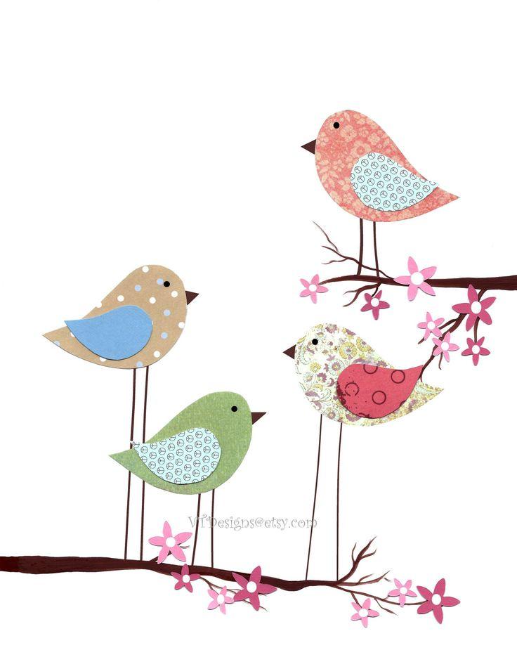 Nursery Art, Baby Room Decor, Girls Room Art Decor, Children's Room Decor, Birds, Cherry Blossom Tree,  All Together, 8x10 Print. $14.00, via Etsy.