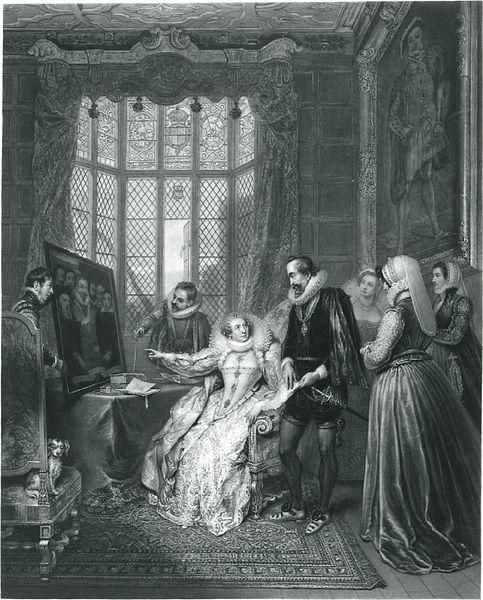 """1830.""""Queen Elizabeth attended by her secretary,Sir Francis Walsingham, detecting Babington's conspiracy,"""" mezzotint with some etching and drypoint, by the British artist and printmaker John Charles Bromley.Published by Robert Bowyer & Mary Parkes, 46 Pall Mall. 658x 550 mm. Courtesy of the British Museum,London."""