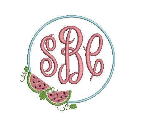 Watermelon Vine Summer Wreath Frame Design File for Embroidery