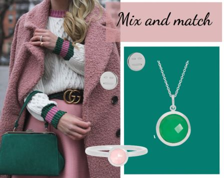 Mix and match by Johanne Appel #fashion #Mixandmatch #outfit #Inspiration #shopping #green #pink #jewellery #jewelry #hvisk #Hviskstylist #hviskjewellery #johanneappel #necklace #earrings #ring