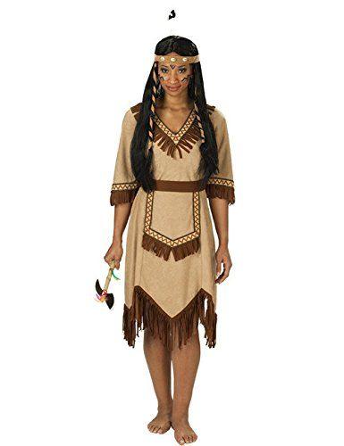 Apachen Indianerin Damenkostüm braun 46: Amazon.de: Spielzeug