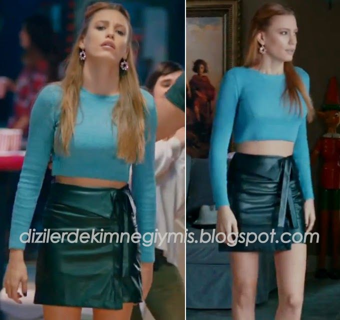 Medcezir - Mira (Serenay Sarıkaya), Blue Top and Black Skirt