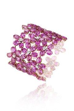 Stunning Chopard pink sapphire and diamond flower bracelet. Beautiful.