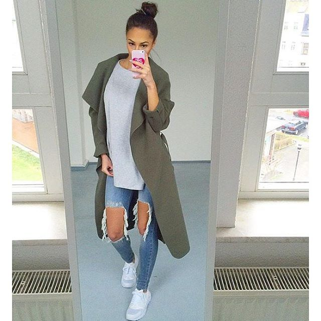 @ni_sa_ wears our ZENA waterfall coat in khaki £22 free delivery. SHOP HERE: http://www.wearall.com/zena-open-belted-trench-jacket
