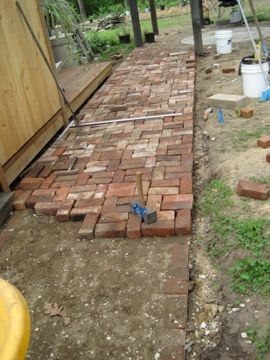 Repurposed-brick patio and walkway
