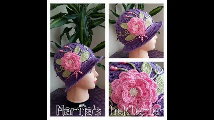 vakre heklede luer til barn  Crochet hats for children (шапочки детям вя...