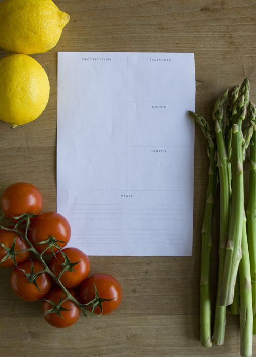 Simple grocery list/meal planning printable. Love it. And it won't use much ink.