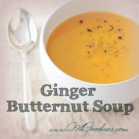 If you like the creamy, sweet taste of butternut squash, you will love this soup! A light hint of fresh pungent ginger and creamy coconut cream make this soup a hit with all my clients. Super easy to make and very hearty.   Time to share the goodness...  Wholesome Goodness!