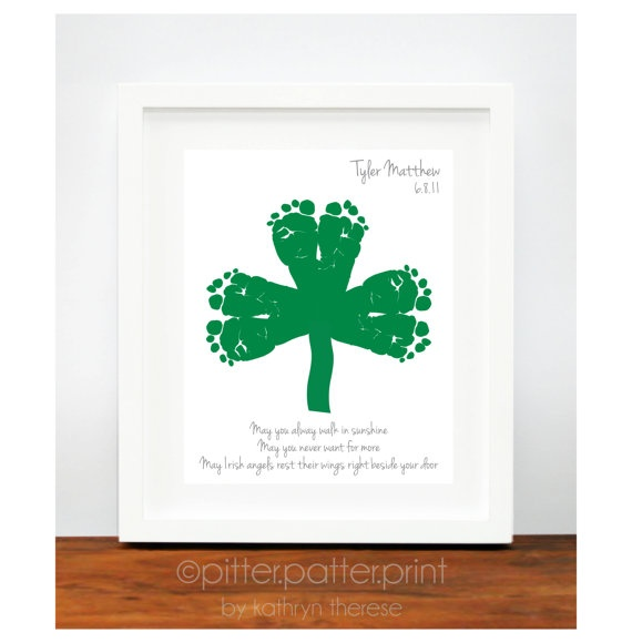 St Patricks Day Baby Footprint Shamrock