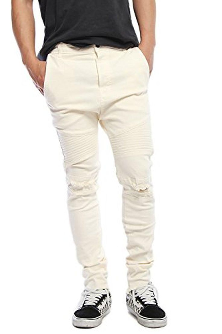 Vialumi Men's Drop Crotch Distressed Torn Slash Knee Skinny Jeans Cream Size 34 - Brought to you by Avarsha.com