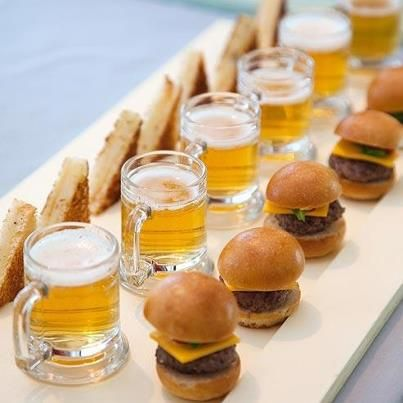 The perfect party/bridal shower appetizer! These scrumptious Mini Burgers and Grilled Cheese Sandwiches served with Mini Beers is just perfect!