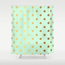 Gold polka dots on mint background - Luxury greenery pantone pattern Shower Curtain
