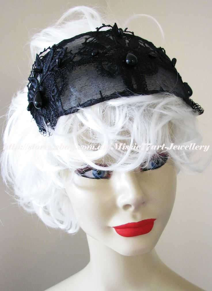 Melbourne Cup day is just around the corner and what better way to complete your outfit than with this delightful vintage inspired Hat. Based on vintage patterns, this handmade hat is sure to set you apart from the crowd next race day.   Gatsby Black Beaded Vintage Inspired Lace Tiara Cap Hat Melbourne Cup by Missie77art Jewellery on ebay