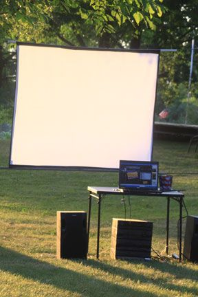 DIY outdoor movie screen, this is Alicia's house in the summer evenings! So much fun with a group of people!!!